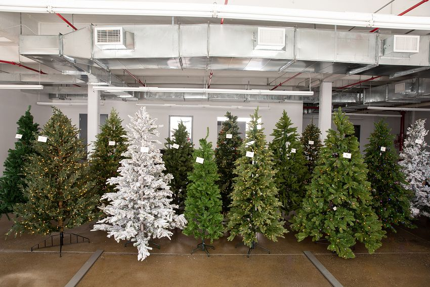 Artificial christmas trees assembled in the lab