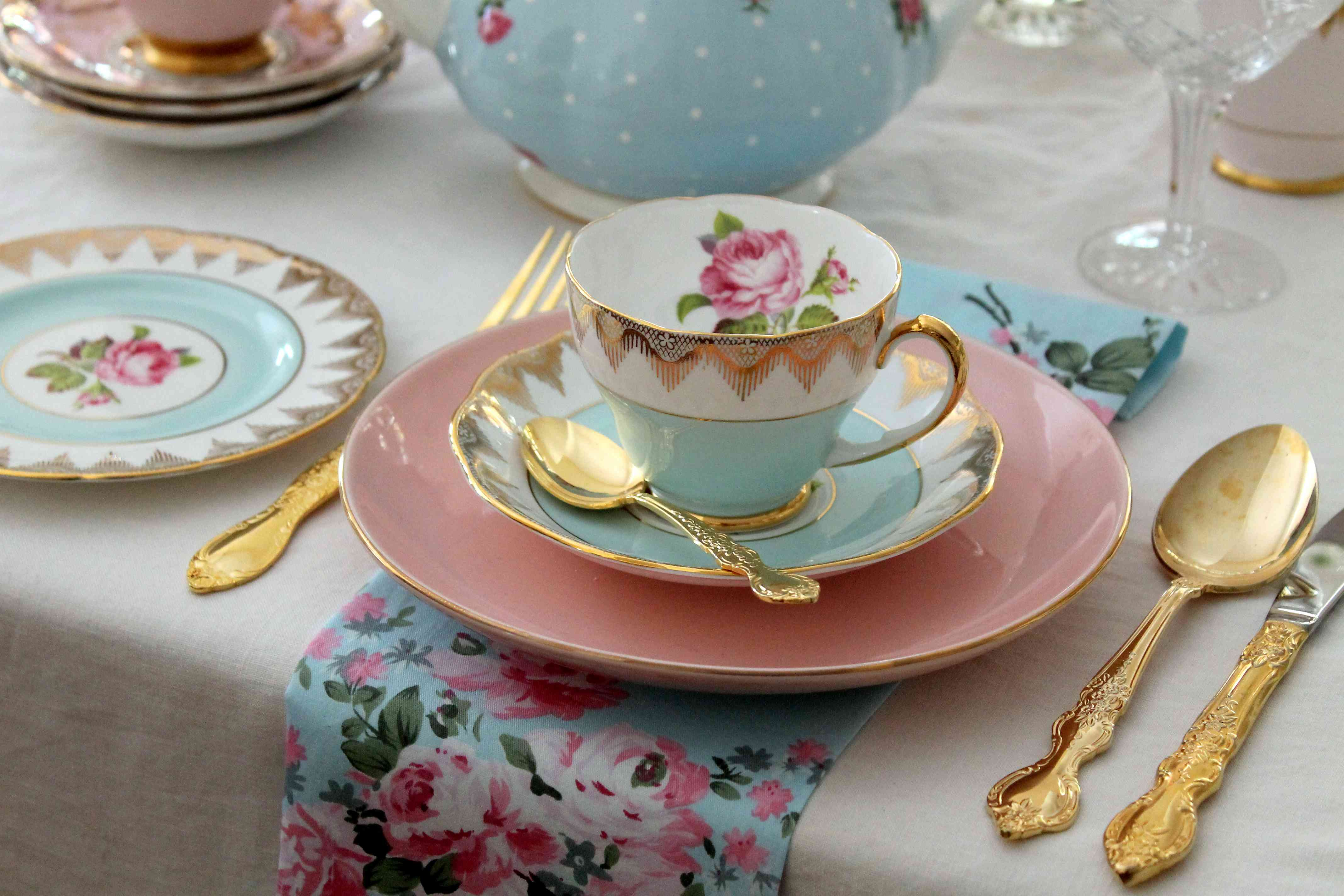 Vintage high tea party pink and blue tea cup, plates, gold cutlery flatware, pink roses, place setting - wedding bridal shower