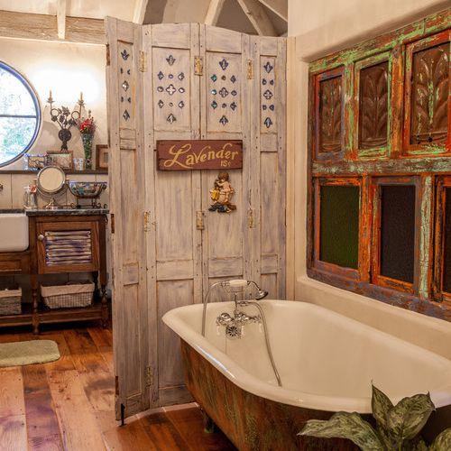 Rustic wood floor in bathroom