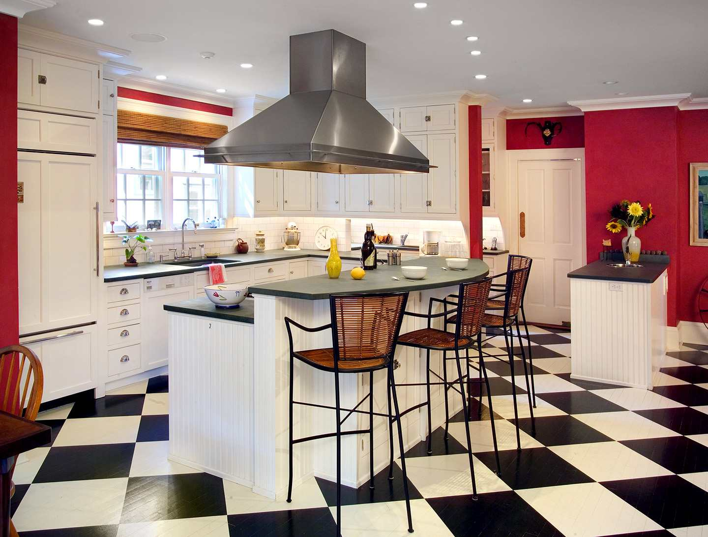 checkered floor in country kitchen