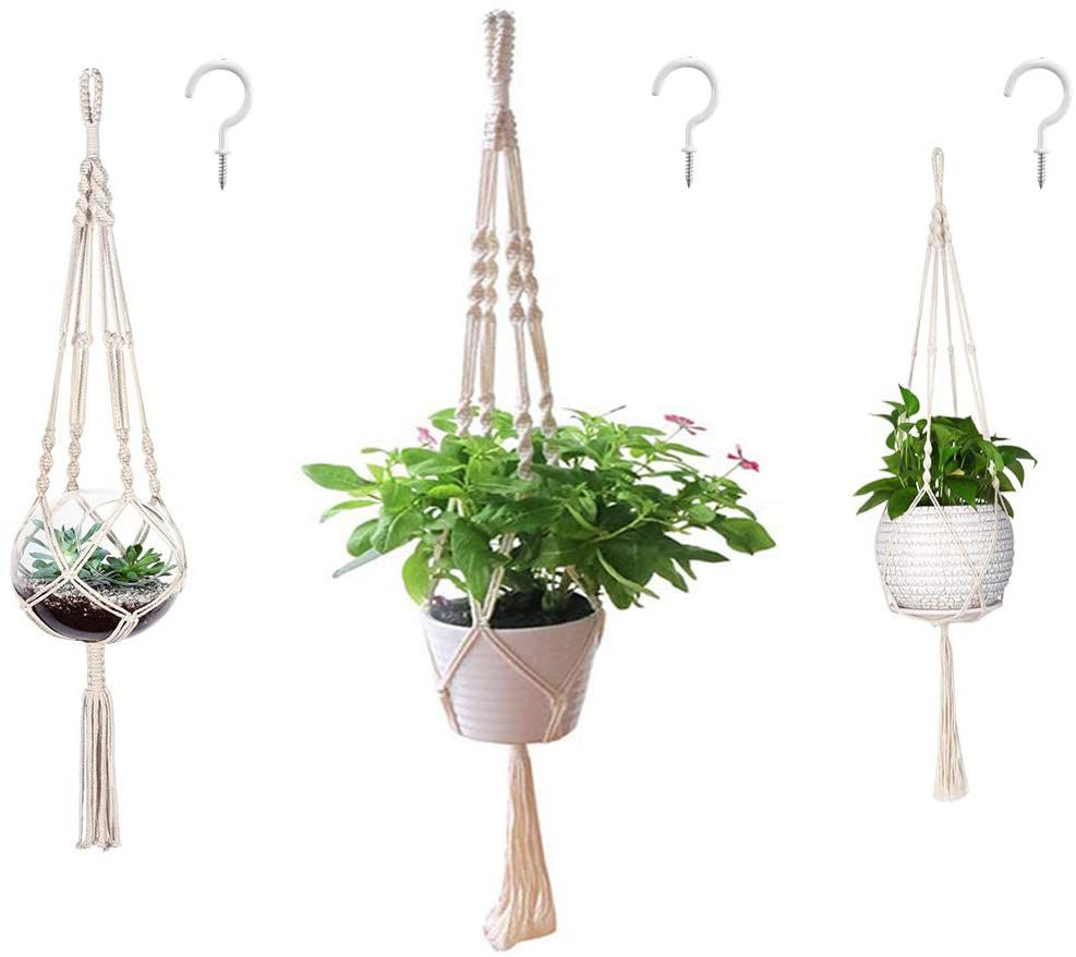 AOMGD 3-Pack Macrame Plant Hangers and Hooks