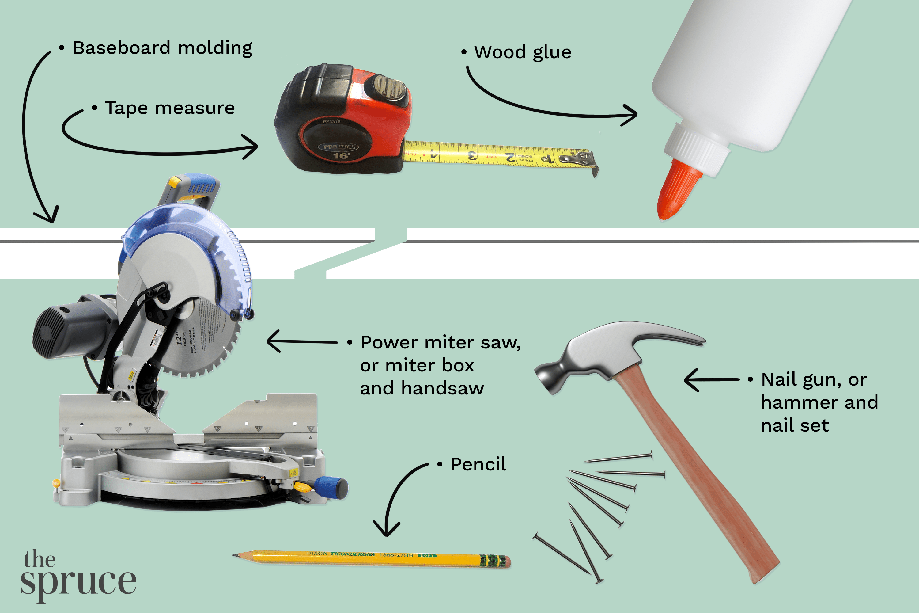 Materials and tools illustration to join baseboard moldings with scarf joints