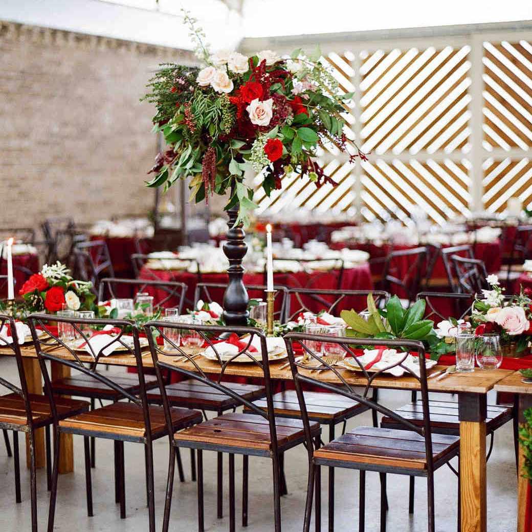 Modern Tall Rose Winter Wedding Centerpiece