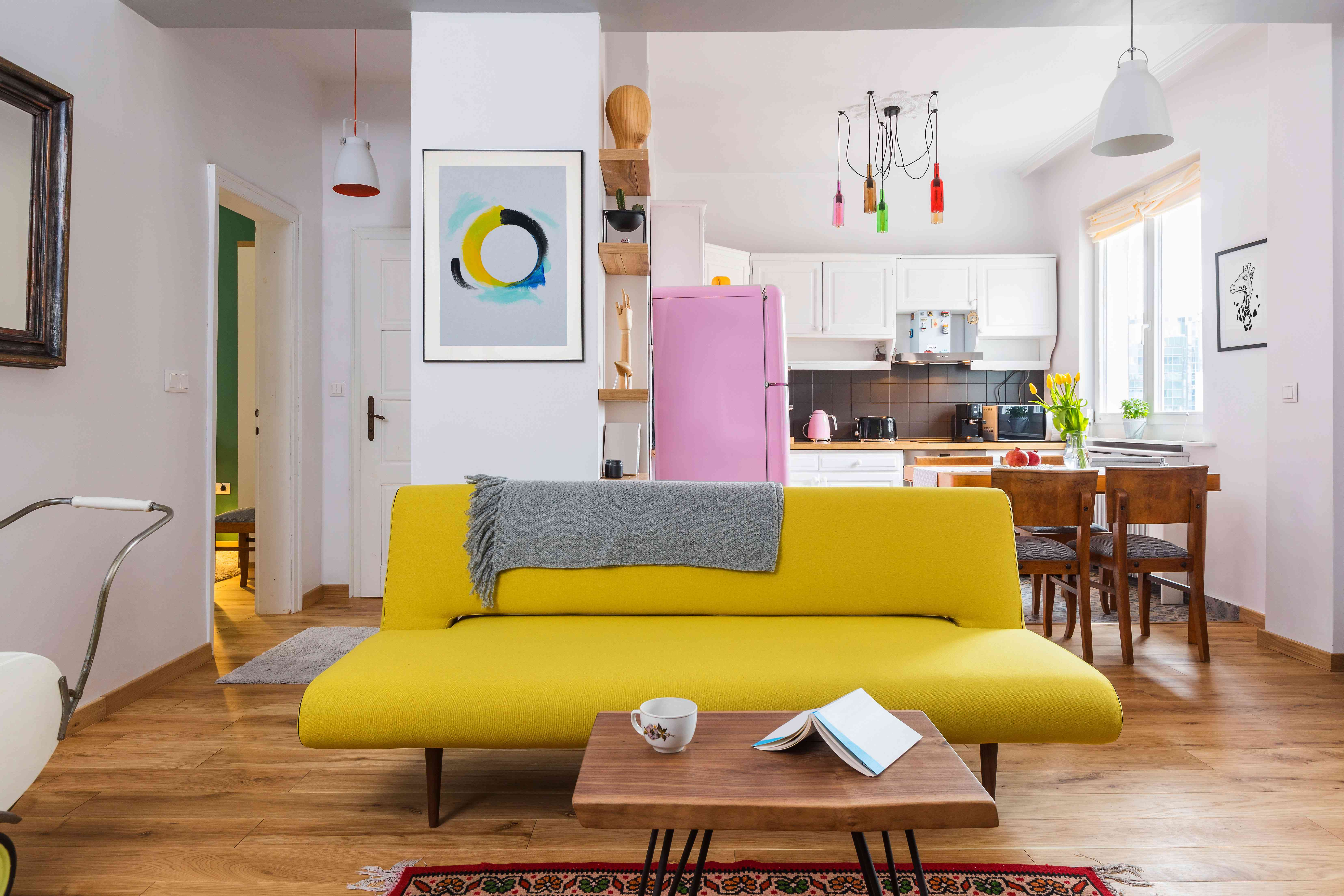 yellow sofa in a living room