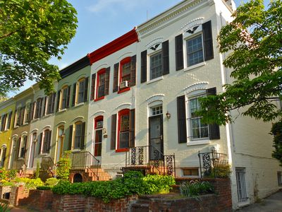 Painted brick row houses