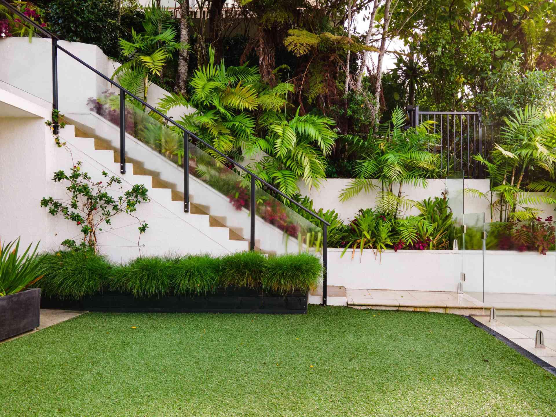 Garden with poured concrete retaining walls