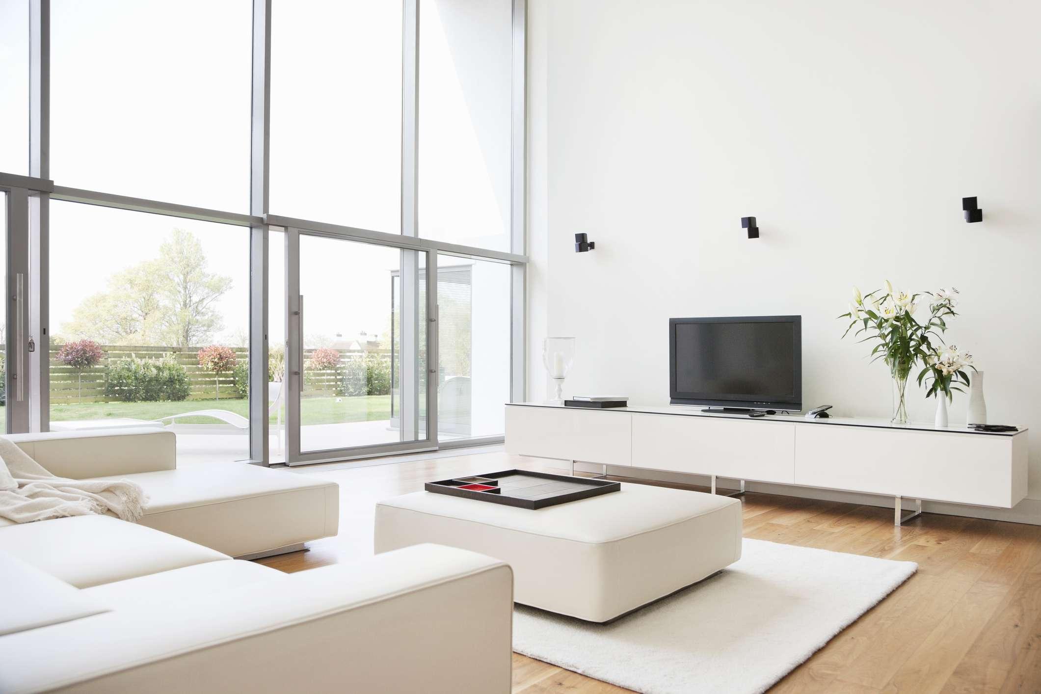 A white sofa in a modern living room