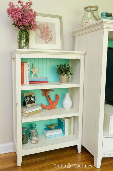 White Bookcase With A Painted Blue Green Back