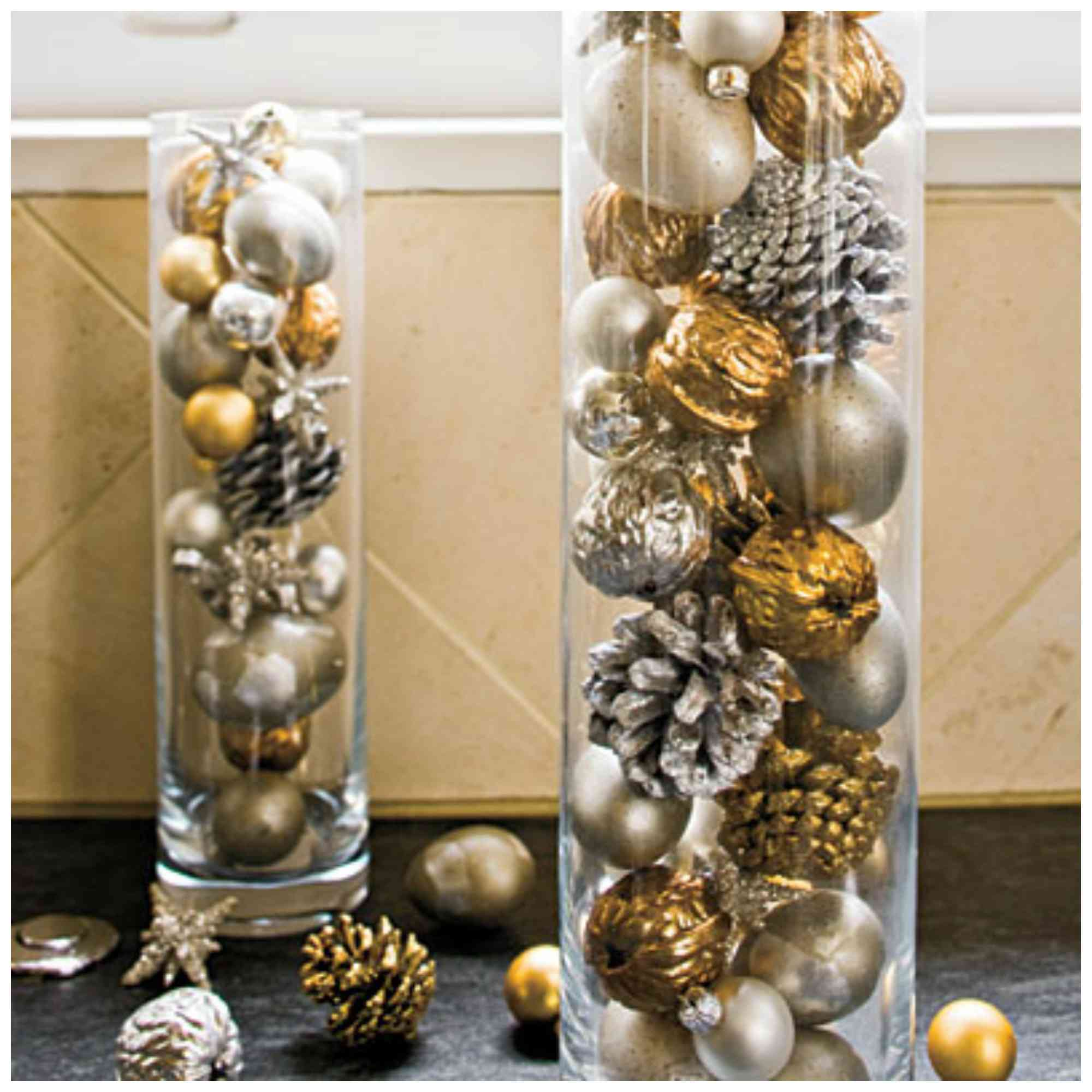 display ornaments in a vase