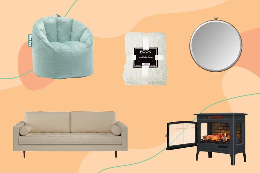 Wayfair Way Day Sale: Bean bag chair, couch, fireplace and mirror on a colorful background