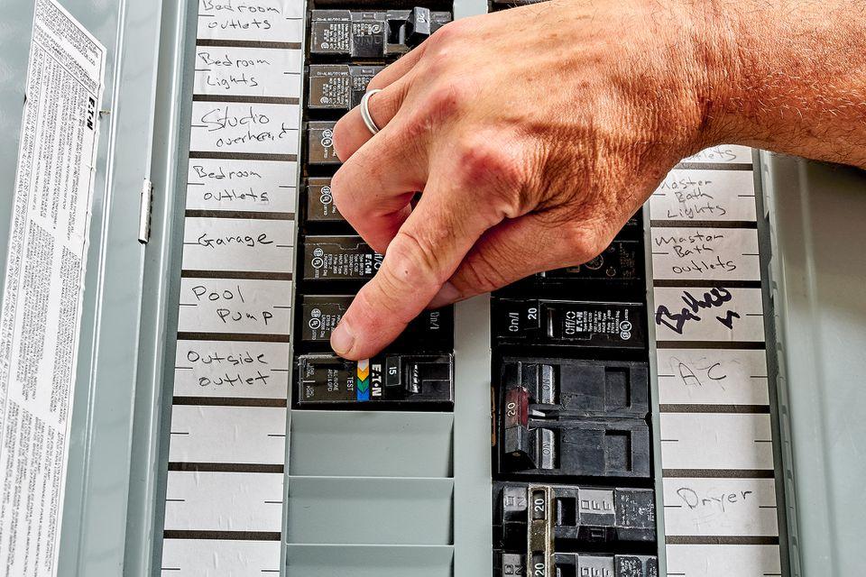 Ground fault breaker installed inside home service panel
