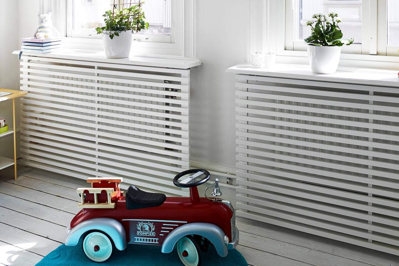 Scandi white radiator cover