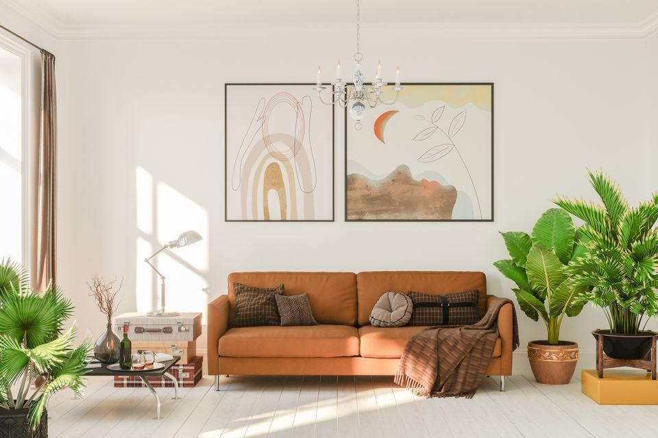 A boho living room with plants