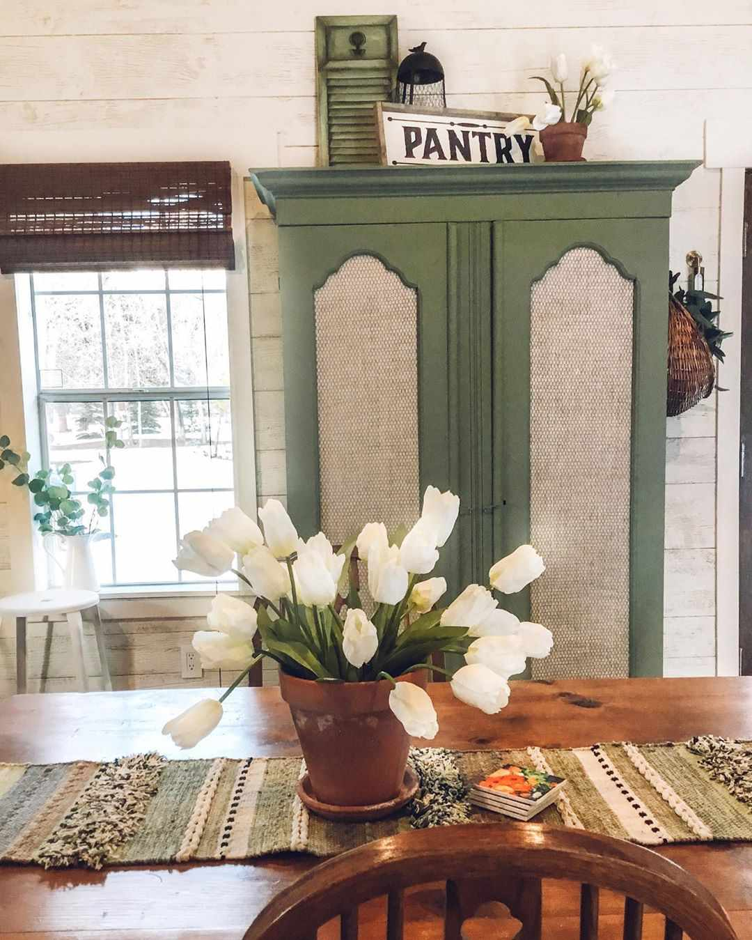 Green pantry in a kitchen