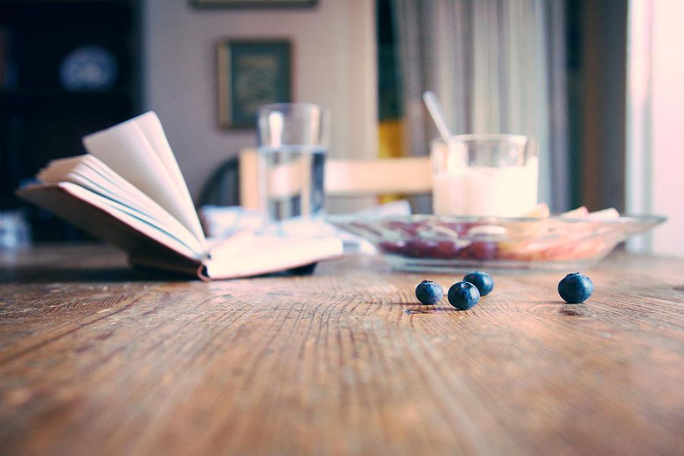 Blueberries on the breakfast table