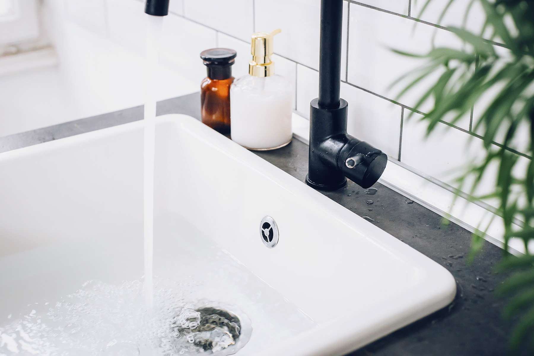 Water running in a sink