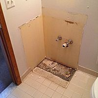 A photo of a removed bathroom vanity