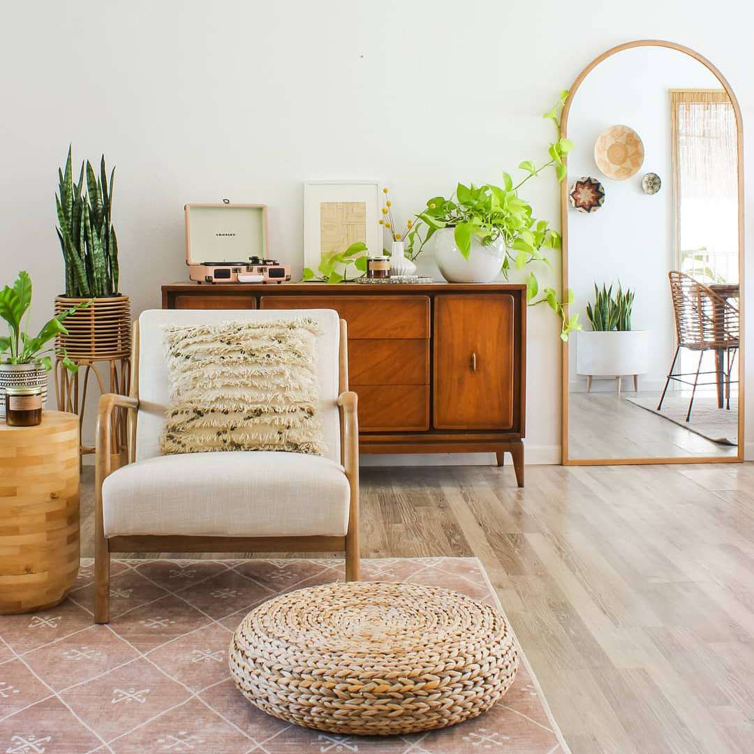Living room with a wooden dresser