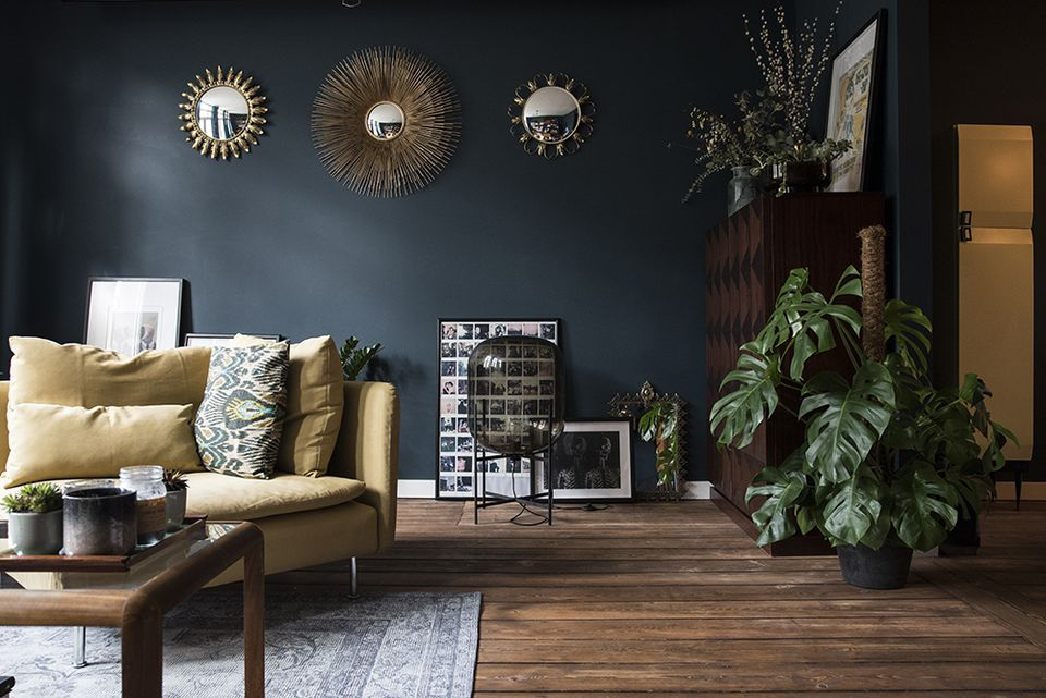 dark blue living space