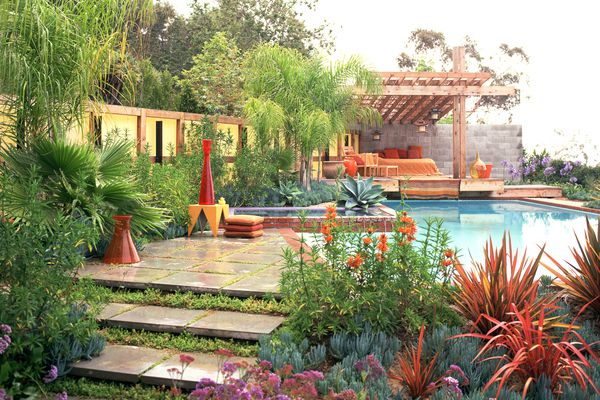 pool and yard with landscaping