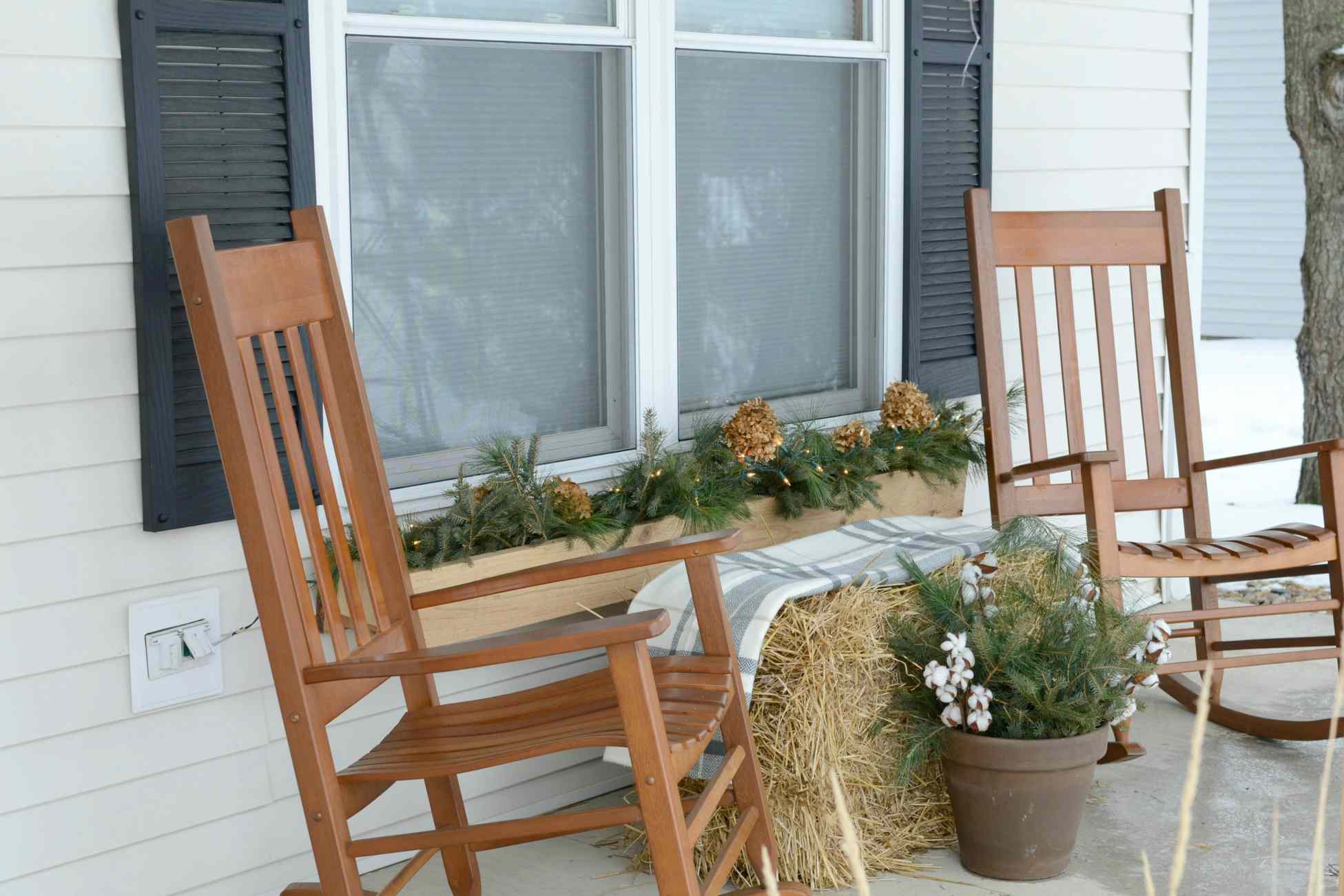 Winter porch window boxes and cotton ball planters