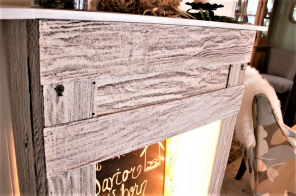 Faux Pallet Wood Fireplace Surround