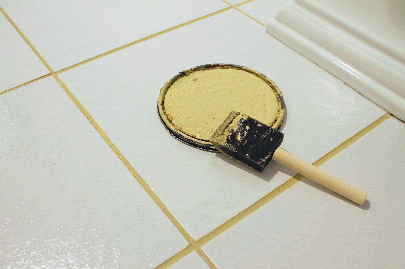 Yellow Grout Paint Bathroom Floor