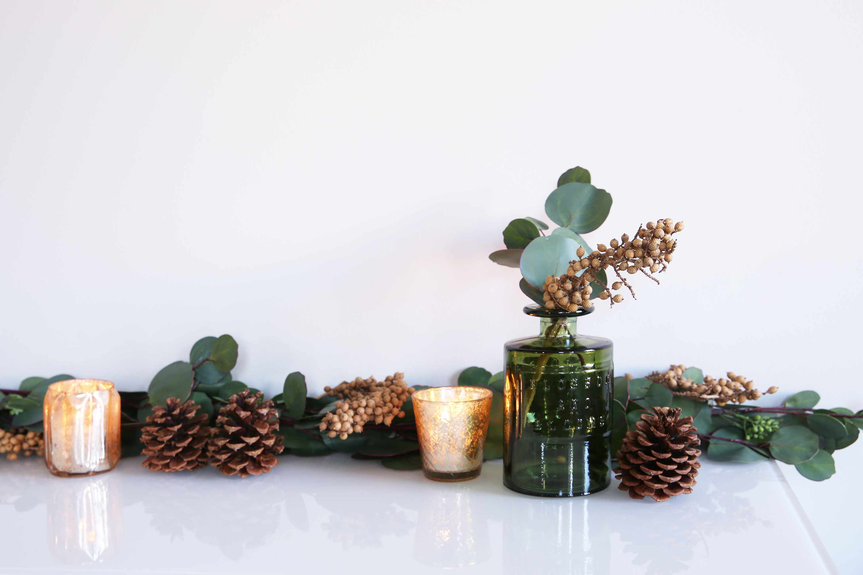 garland draped on a console table