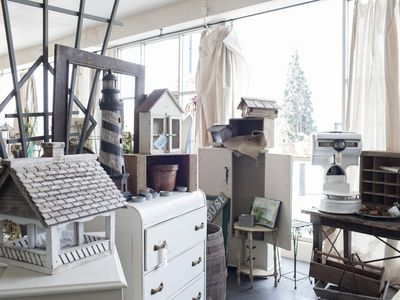 cluttered interior space