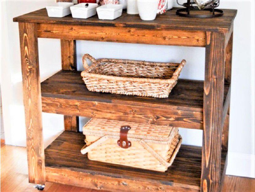 All wood bar cart