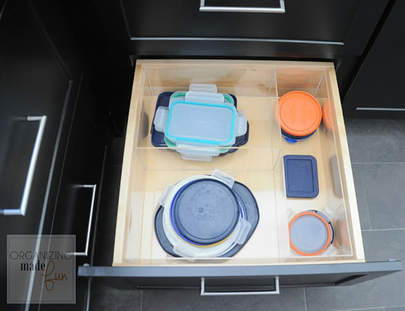 Organized food storage containers inside kitchen drawers