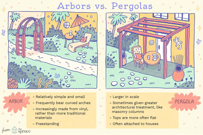 arbors vs. pergolas illustration