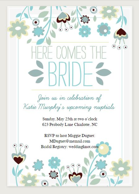 Imgenes de bridal shower printable invitations free a green and blue bridal shower invitation that says here comes the bride filmwisefo