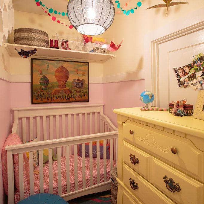 Pink and white closet nursery