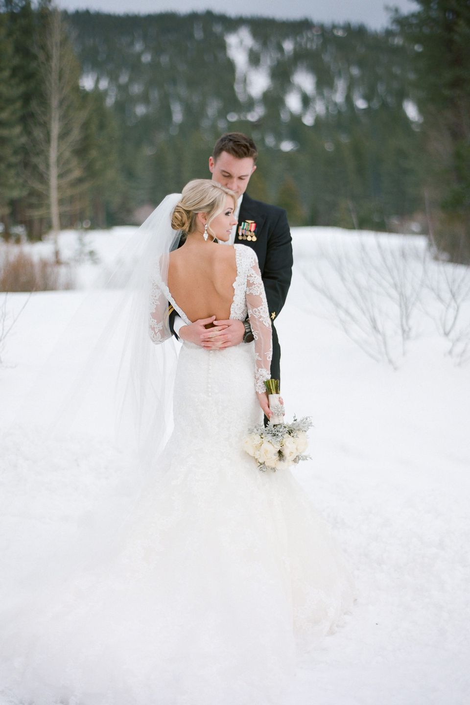 Winter Wedding Dress with Lace Sleeves