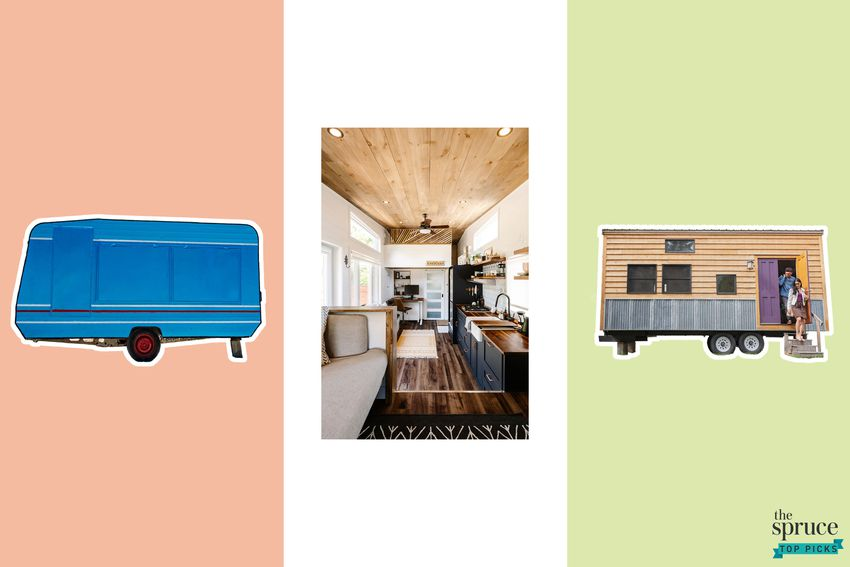 Photo composite of three different tiny houses over a red, white and green background