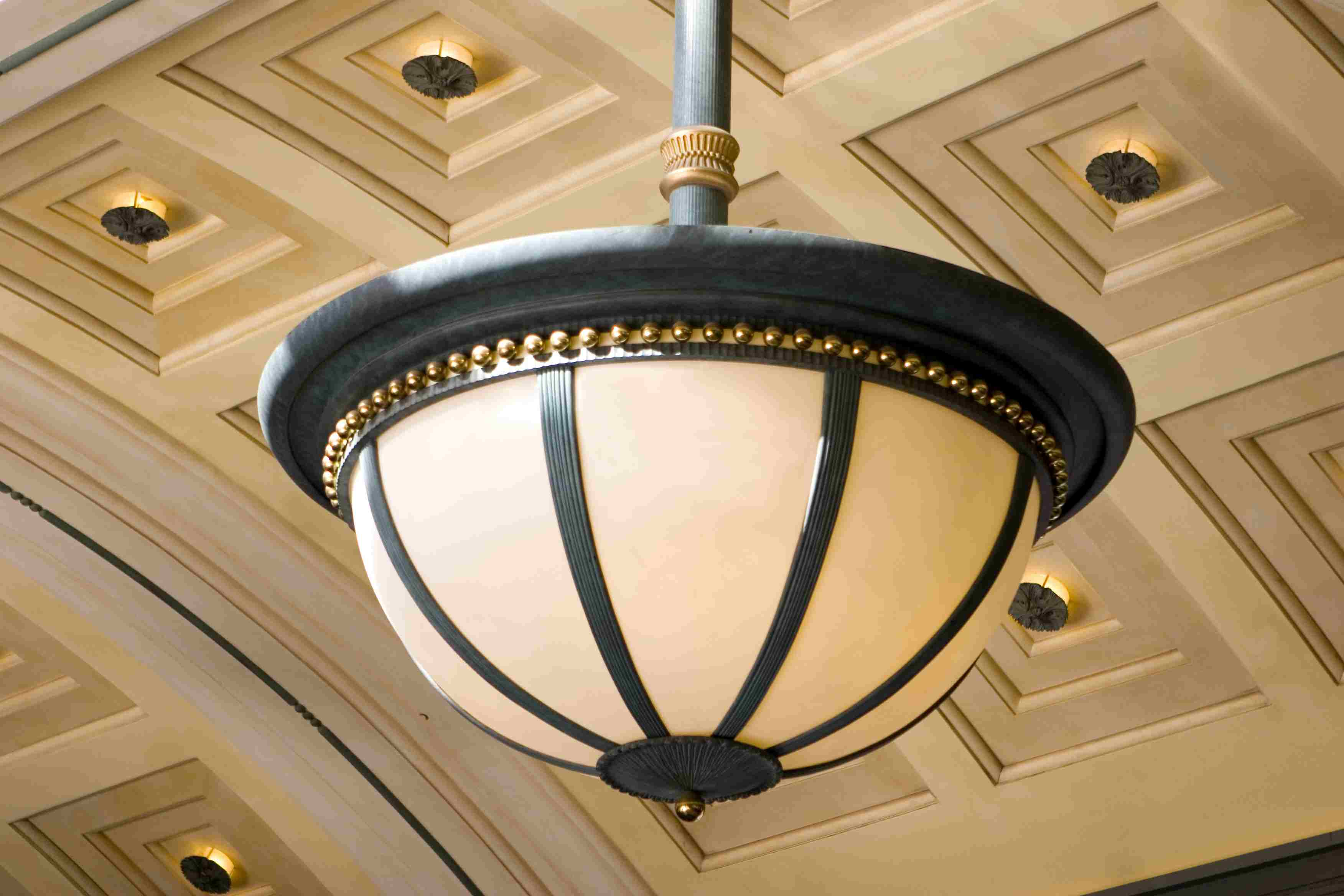 A light fixture hanging from the ceiling.
