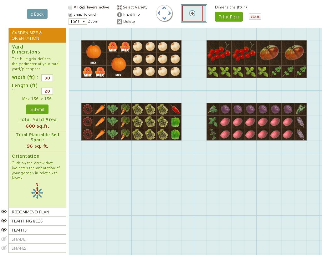 Captura de pantalla de un jardín diseñado con Smart Gardener