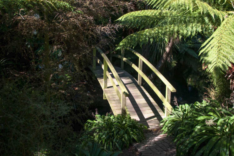 Puente de jardín de madera simple y natural 1500 x 1000