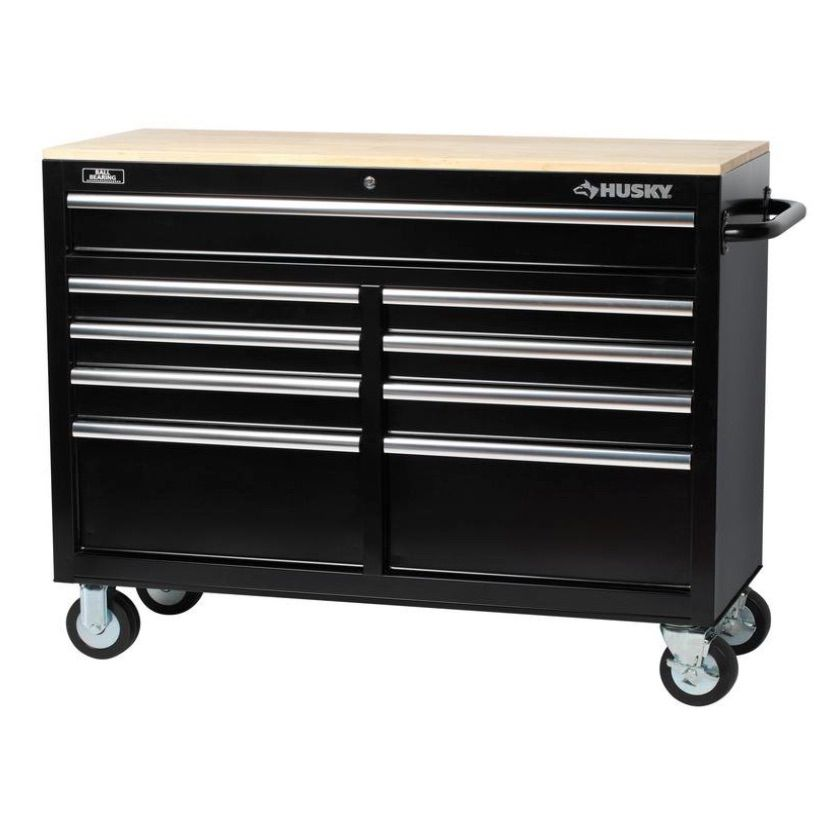 Husky 46 in. 9-Drawer Mobile Workbench with Solid Wood Top