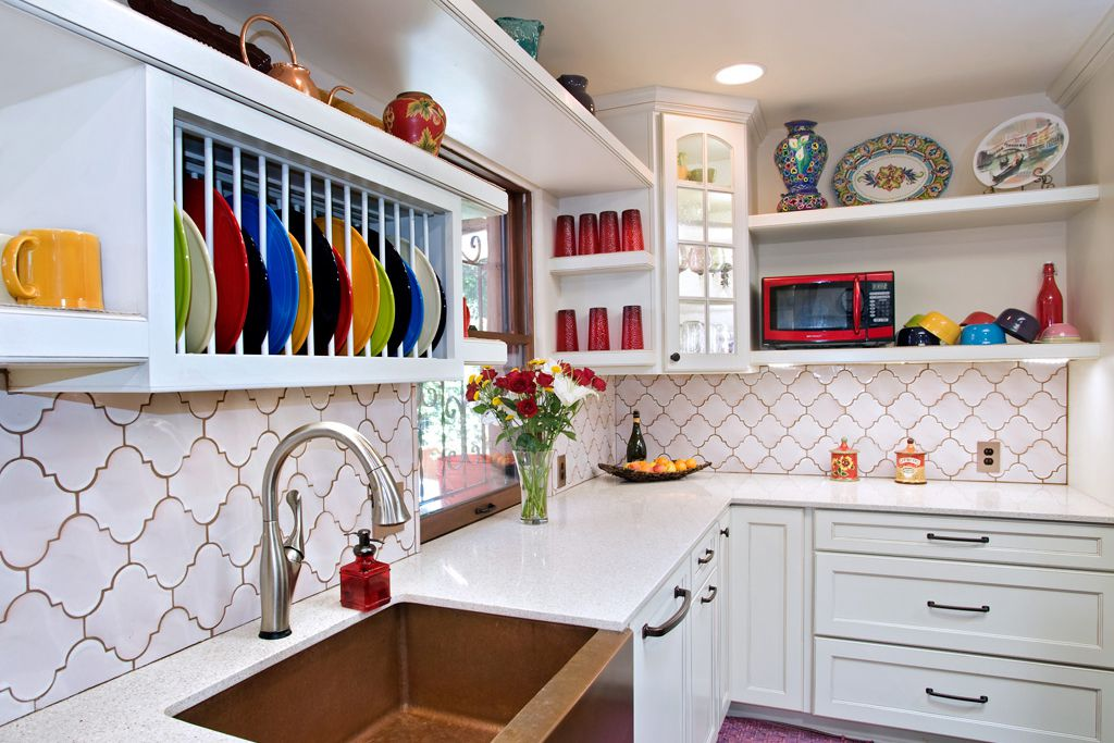 colorful grout in traditional kitchen