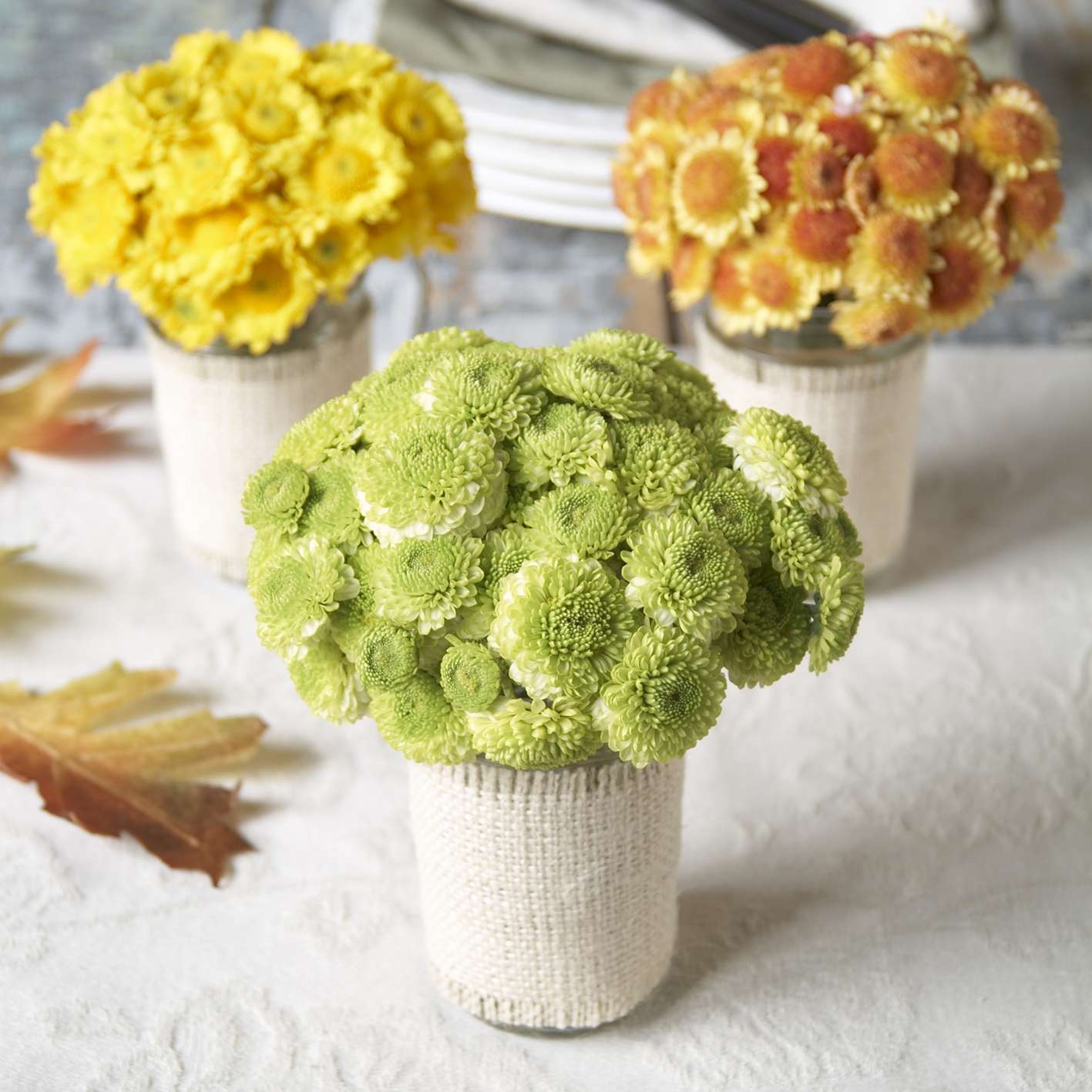 Yellow, green and orange chrysanthemum bouquets