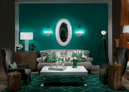 Emerald Green Living Room Vingette