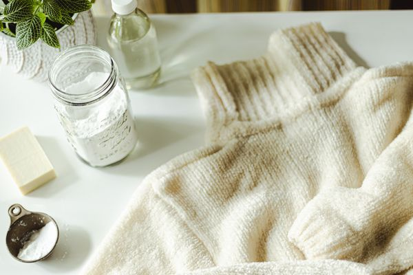 wool sweater and cleaning items