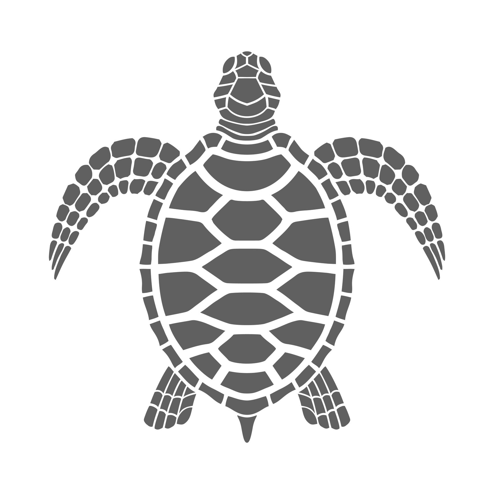 Icon sea turtle. Isolated gray symbol on white background.