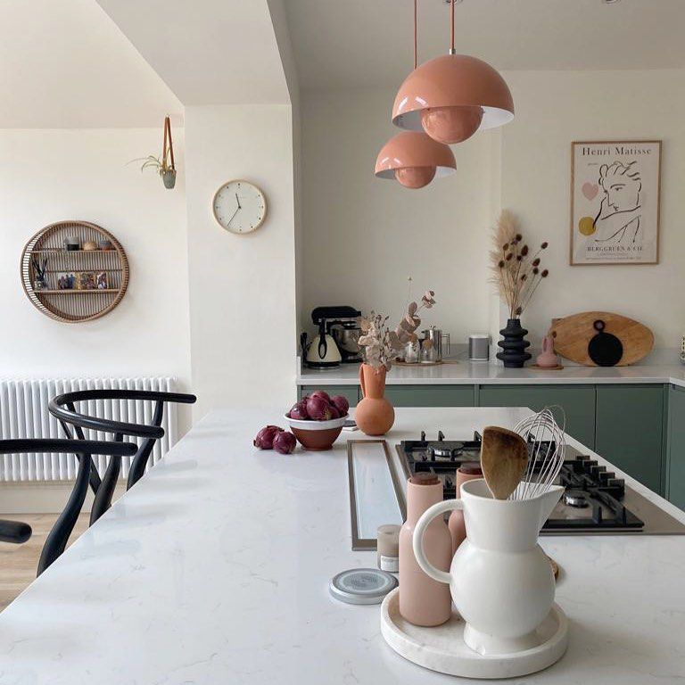 Kitchen with light pink lights