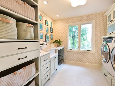 long shot of a laundry room