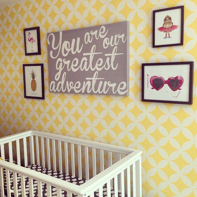 Yellow, geometric accent wall created using a stencil