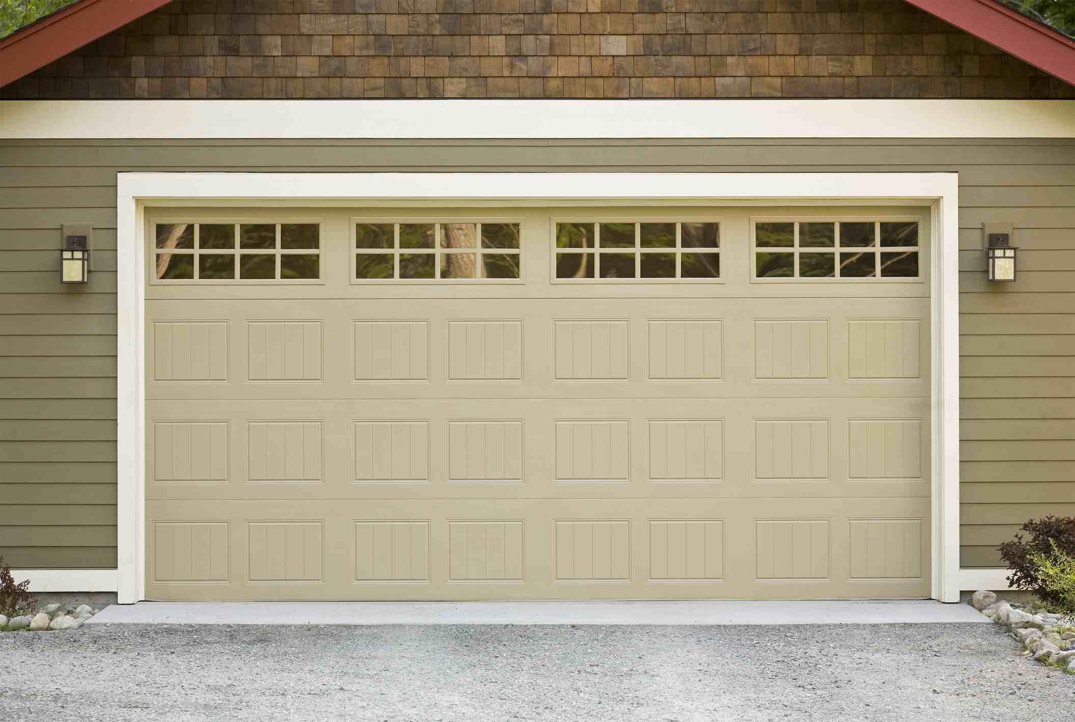 Exterior view of a closed garage door