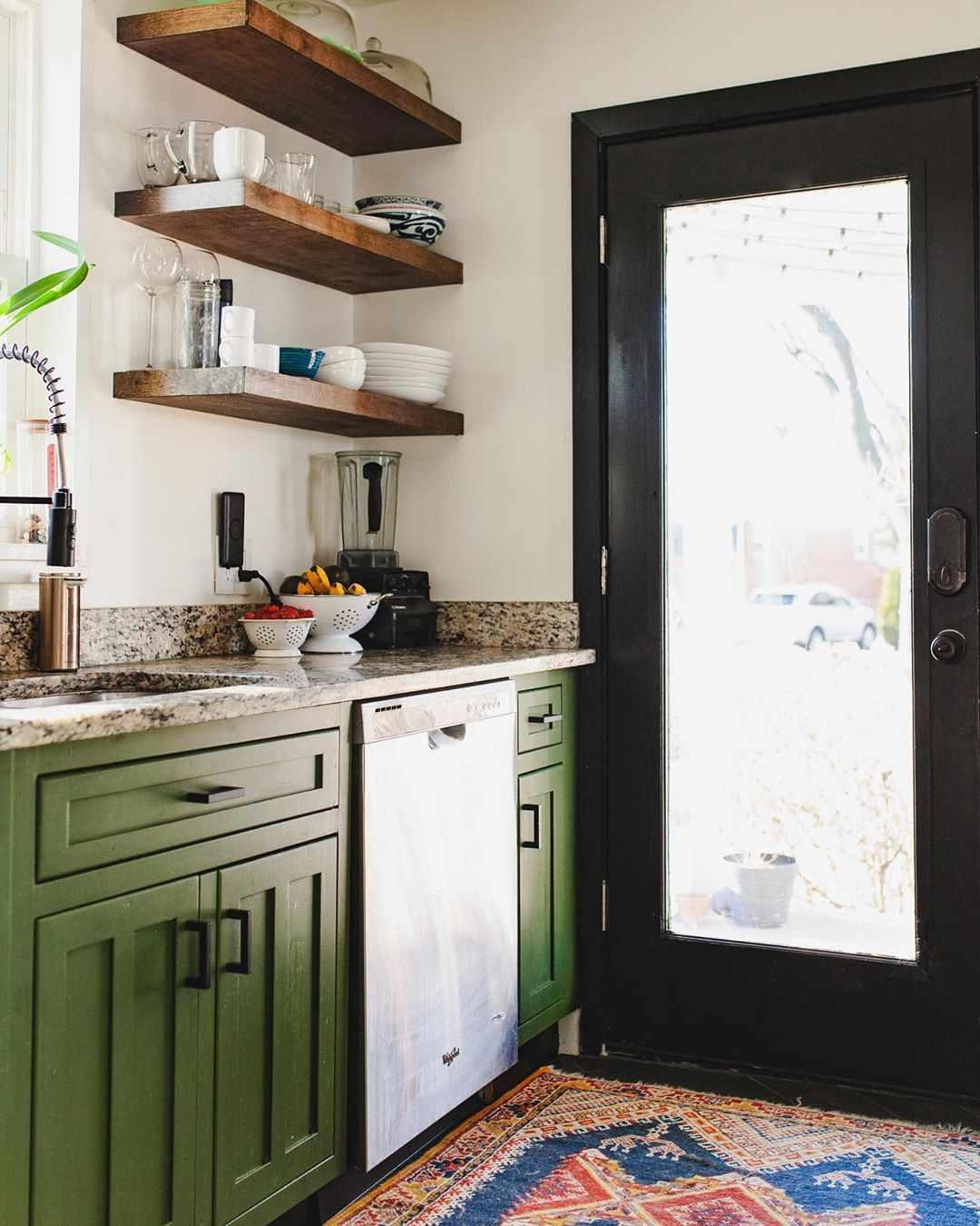 Medium green kitchen
